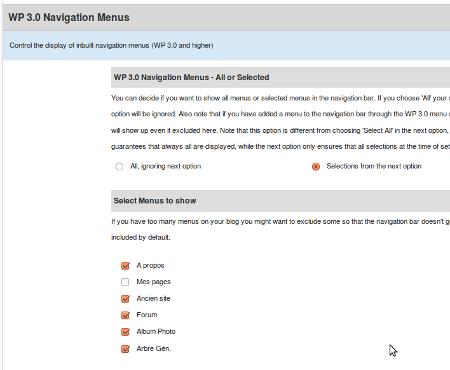 wp3 menus