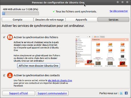 le panneau de contrôle d'Ubuntu One