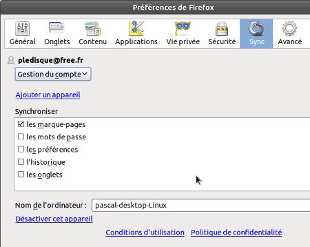 Firefox préférences