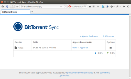 interface web Bittorrent Sync