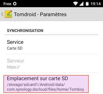 paramètres TomDroid