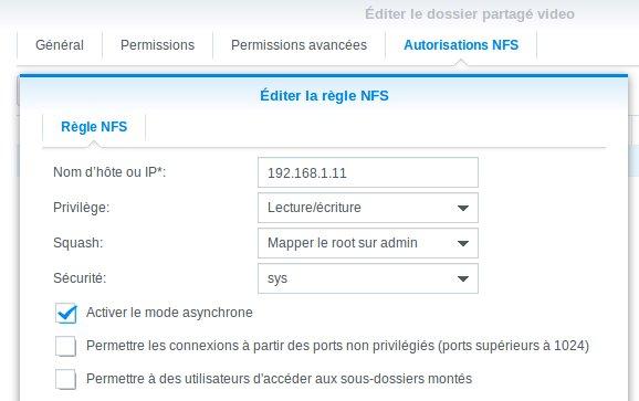 Autorisations NFS