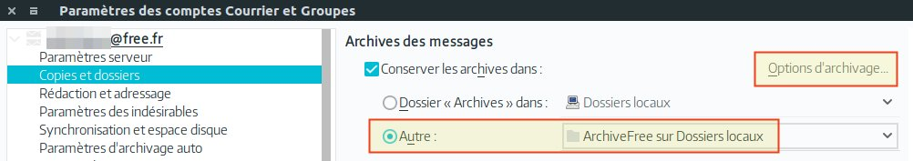 Options d'archivage