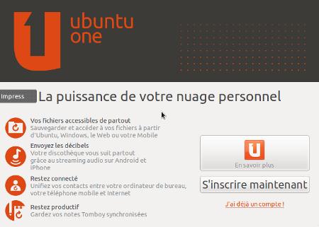 premier démarrage Ubuntu One