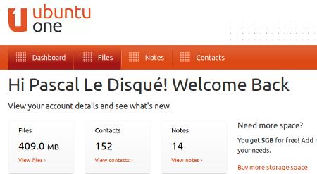 Interface web Ubuntu One