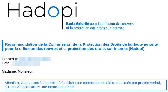 email de recommendation hadopi
