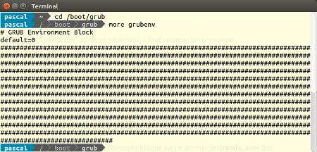 fichier grubenv avec des caractères innattendus