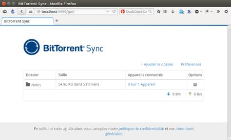 interface web Bittorrent Sync
