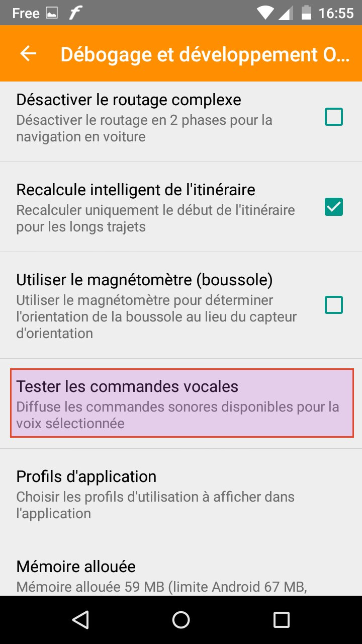 osmand tester les commandes vocales