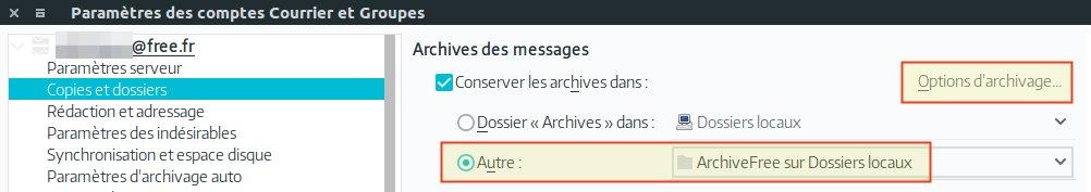 Options d'archivage
