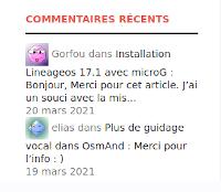 Plugin Get Recent Comments et Worpress 5.7
